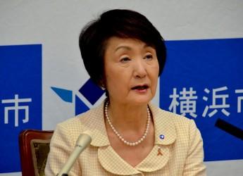 定例市長会見で「オープンデータ取組方針」について語る林文子・横浜市長