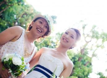 LGBT写真展に展示された室井舞花さん・恩田夏絵さんカップルの写真